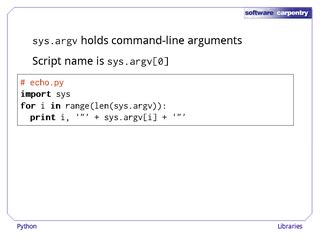 python tutorial command line arguments software carpentry