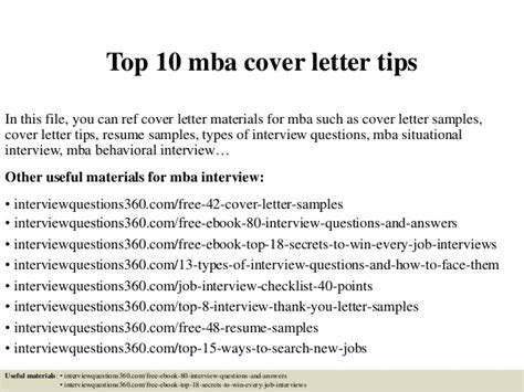 How To Make A Great Cover Sheet Mba by Top 10 Mba Cover Letter Tips