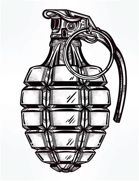 tattoo 2 card printer manual hand drawn design of an army manual grenade stock vector