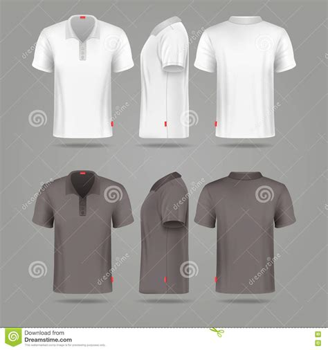 Tshirt Mens White Front white black mens polo t shirt front back and side views stock vector image 75169832