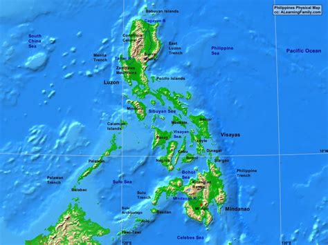 physical map of philippines political map of philippines nations project