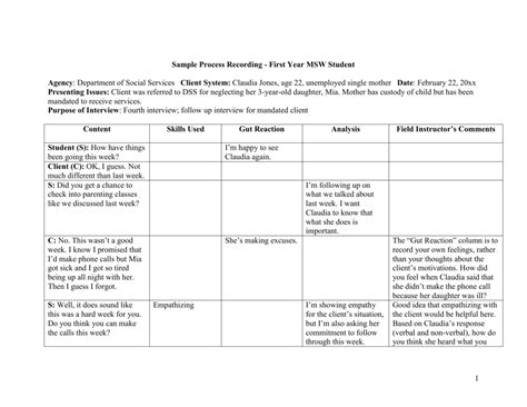 Sle Process Recording Process Recording Template Social Work