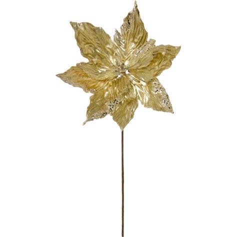 24 quot gold glitter poinsettia floral stem isb60172