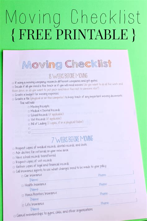 Printable Moving Checklist