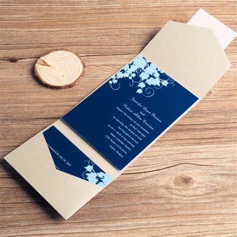 Wedding Invitation Navy Blue by Navy Blue Floral Silver Pocket Wedding Invitations Ewpi035