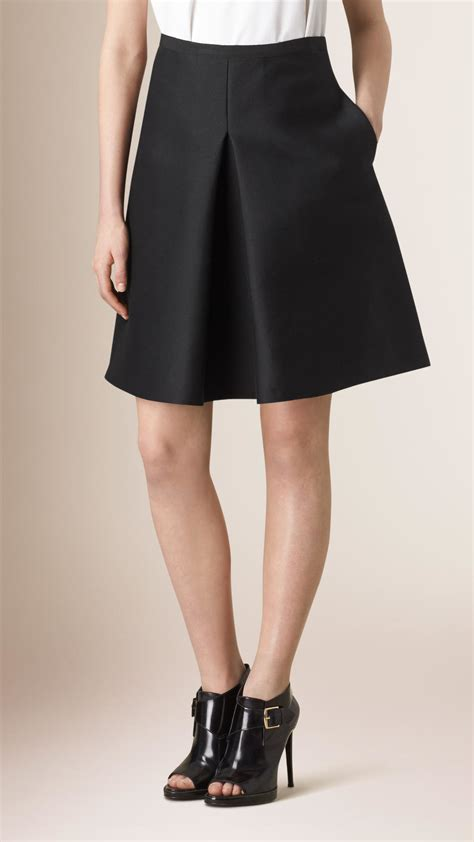 burberry pleat front cotton silk a line skirt in black lyst