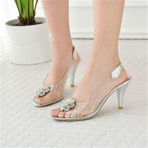 Sandal Wanita High Heels Gelang Sdh165 cinderella glass slipper 2015 transparent wedding rhinestone prom high heel
