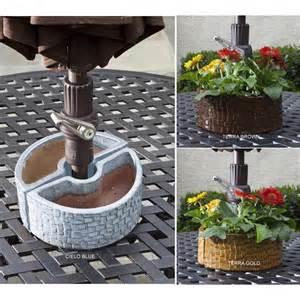 cobblestone table top umbrella planter by alfresco home