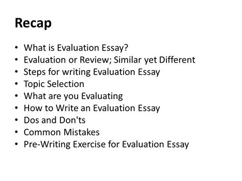 how to write evaluation paper recap what is evaluation essay ppt