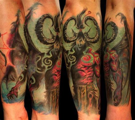 wow tattoo tatuagem illidan stormrage wing do jogo world of warcraft