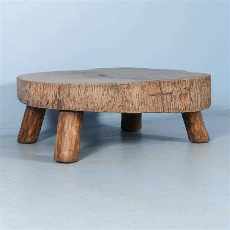 Wood Slab Coffee Tables Rustic Antique Coffee Table Made From Large Slab Of Wood At 1stdibs