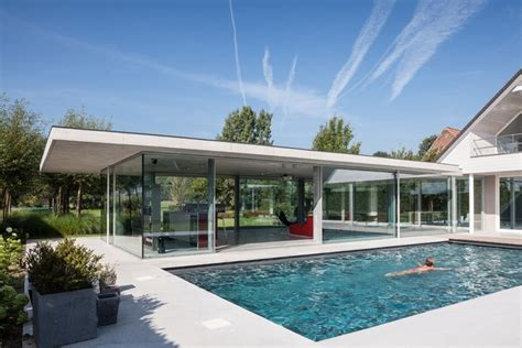 glass and concrete house glass and concrete pool house in belgium