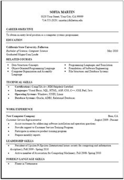 exle computer science resume 1000 images about resume template on resume