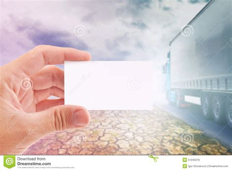 holding business card template business card for transportation company stock photo