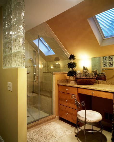 attic bathroom sloped ceiling efficient use of your attic 18 sleek attic bathroom