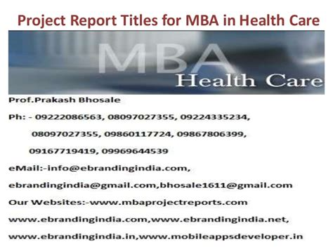 Use Mba In Title by Project Report Titles For Mba In Health Care