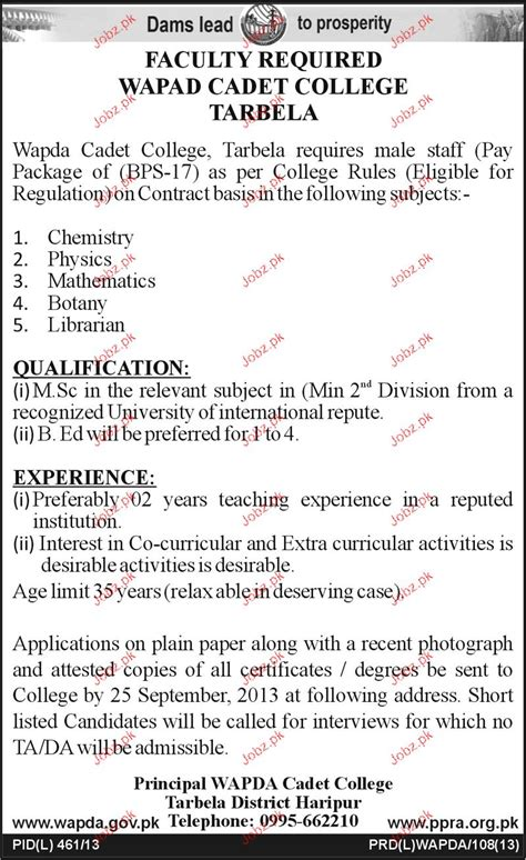 Resume Sample Updated by Teaching Staff And Librarian Jobs In Wapda Cadet College