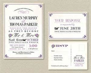 printable wedding invitation rsvp postcard vintage poster design and purple roses 40 00