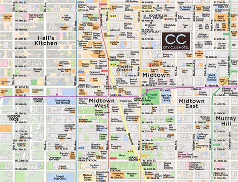 streetsmart nyc midtown manhattan map by vandam laminated pocket sized city map with all attractions museums broadway theaters hotels and subway map 2017 edition books map of midtown manhattan printable my