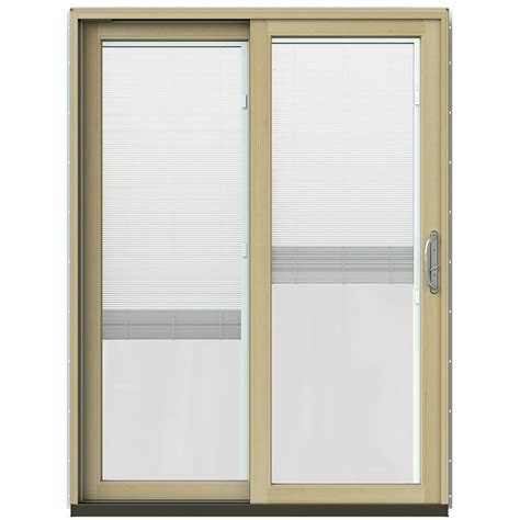 Wood Sliding Patio Door Jeld Wen 59 1 4 In X 79 1 2 In W 2500 Vanilla Prehung Left Clad Wood Sliding Patio