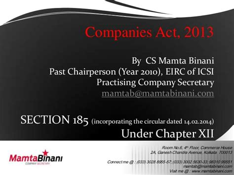 section 6 of the companies act section 185 ppt loans companies act 1913