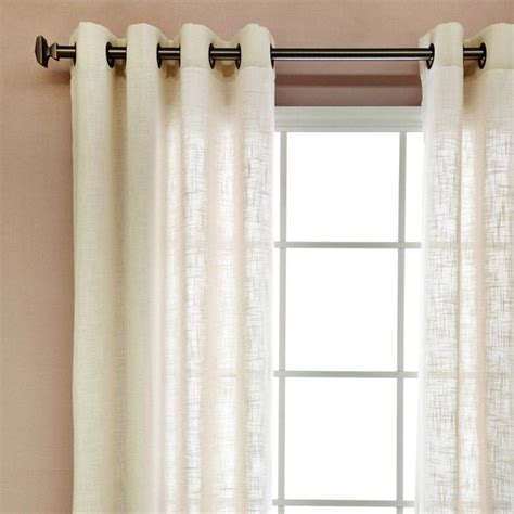 Linen Sheer Curtains Faux Linen Grommet 84 Inch Curtains