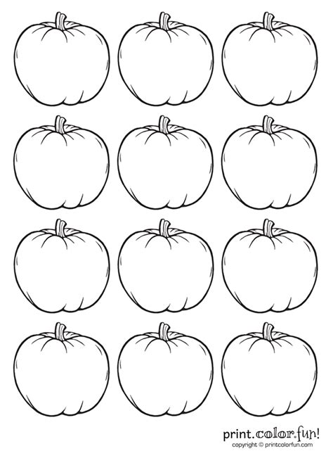 Multiple Pumpkin Coloring Pages | 12 tiny pumpkins coloring page print color fun