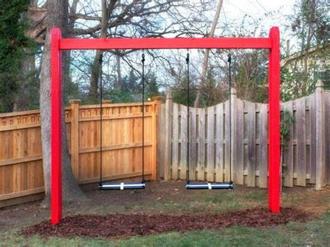 diy backyard swing set how to build a wooden kids swing set hgtv