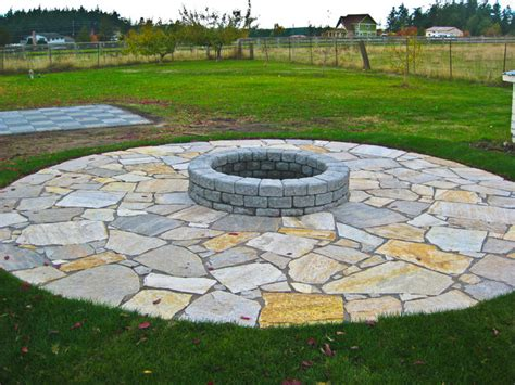 Flagstone Patio With Firepit Pit With Flagstone Patio Rustic Landscape Seattle By Choice Landscapes Llc