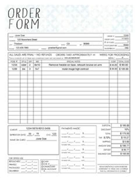 eco form template general photography sales order form template available