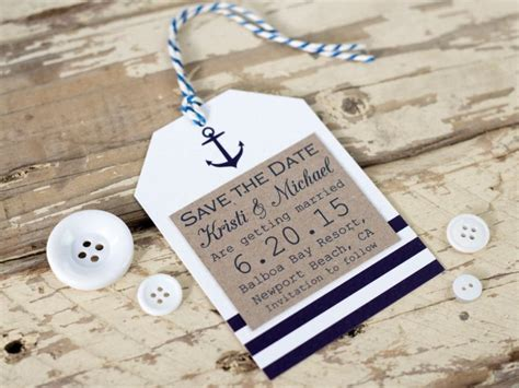 Handmade Save The Date - nautical save the date tag seaside wedding rustic