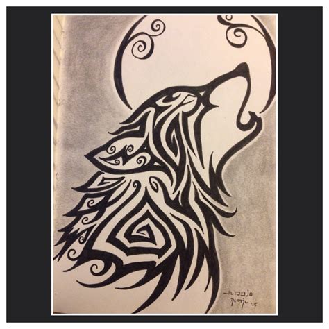 tribal wolf drawing howling www pixshark images