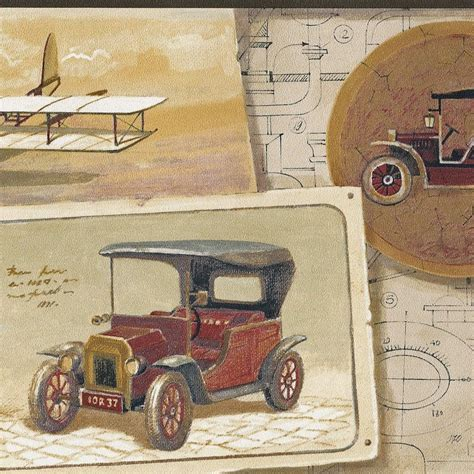 Antique Car Wallpaper Borders by Vintage Auto Motorcycle Steam Airplane Phonograph