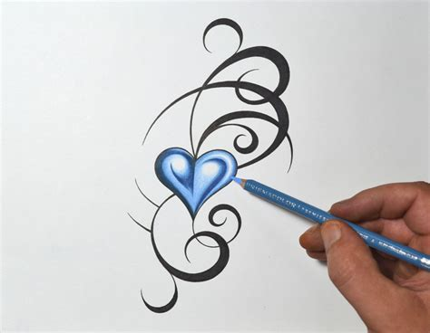 blue heart tattoo tribal drawing designs www imgkid the image
