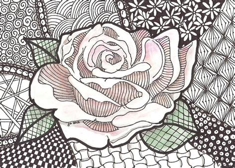 pattern drawing rose you have to see rose zentangle on craftsy