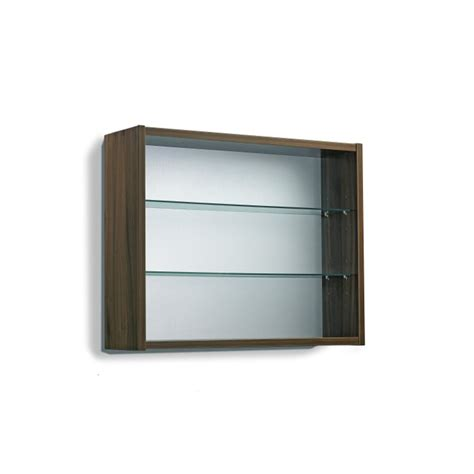 open display cabinet 2 glass shelves wall