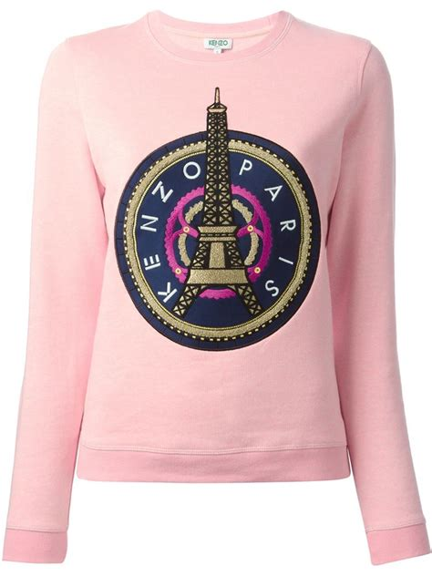 kenzo eiffel tower cotton sweatshirt in pink lyst