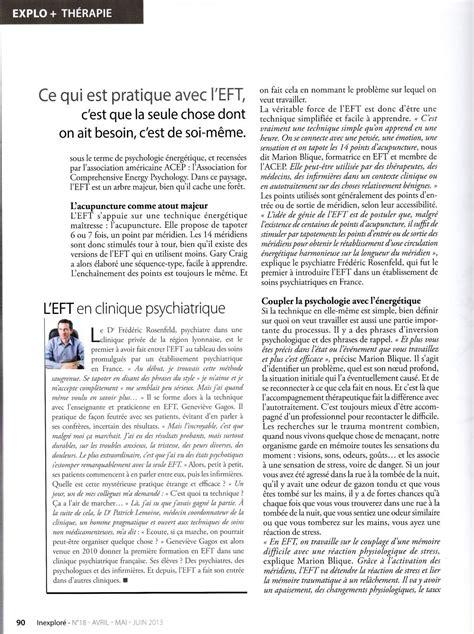 Sante Magazine Juillet 2012 Antistress Eft Techniques De Libert 233 233 Motionnelle eft dans inexplor 233 avril 2013