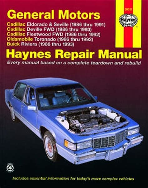how to download repair manuals 1992 oldsmobile toronado engine control cadillac eldorado seville deville and fleetwood olds toronado buick riviera haynes repair
