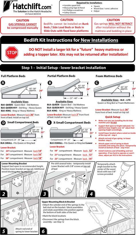 boat lift us installation instructions hatchlift bedlift kits bedlift kits installation instruction