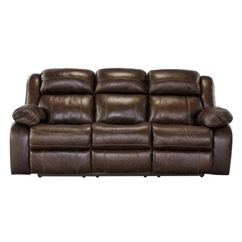 old recliner ashley branton leather reclining sofa in antique u7190188