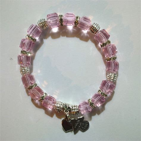 Handmade Bracelets For Sale - one of a handmade bracelet with pink cube