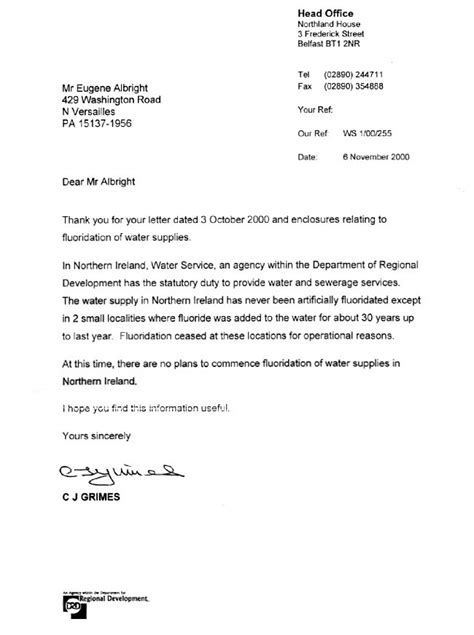 Bank Of Ireland Letterhead Statements From European And Asian Governments On Fluoridation