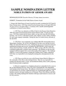 nomination letter exle the best letter sle