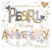 On Your Pearl 30th Anniversary Greeting Card  Cards