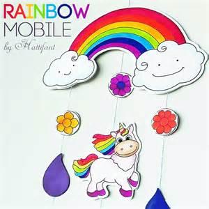 lets make a mobile rainbows and unicorns hattifant