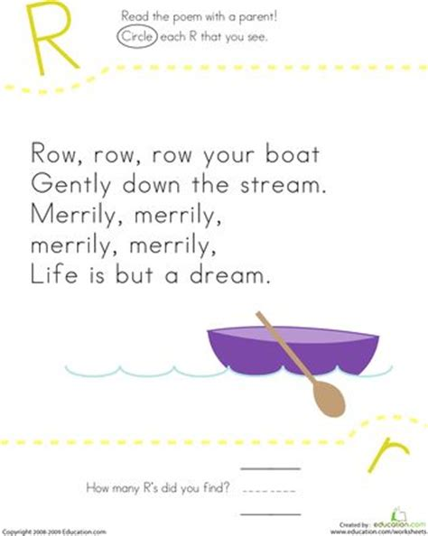 row your boat kindergarten find the letter r row row row your boat preschool
