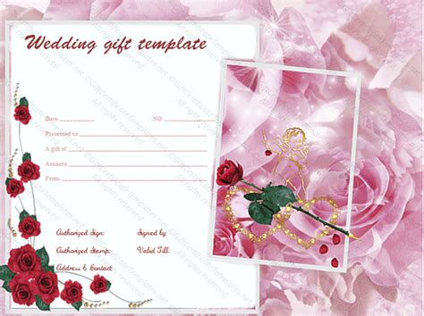 pink rose wedding gift certificate template