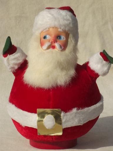 santa hat music box vintage santa w rabbit fur beard roly poly flocked velvet box