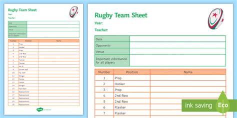 Team Sheet Template